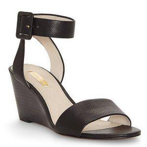 Louise Et Cie black leather Punya wedge sandal